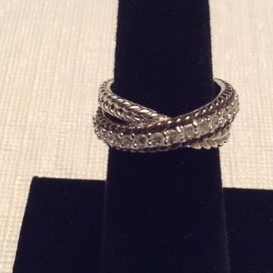 JUDITH RIPKA 925 Sterling and CZ Crossover- Sz 6